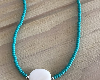 Shell Bead Necklace, Turquoise Seed Bead Necklace