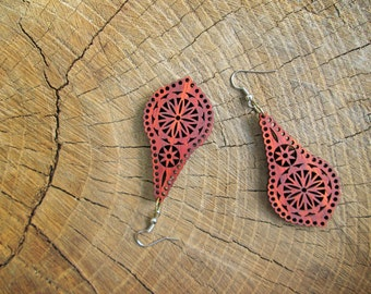 Boho dangle earrings, Natural african  wood, Eco-friendly jewelry #5