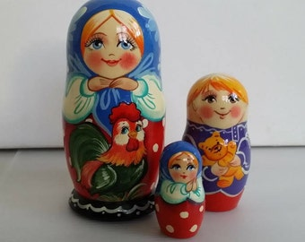 With a rooster, 3pieces Russian doll matryoshka