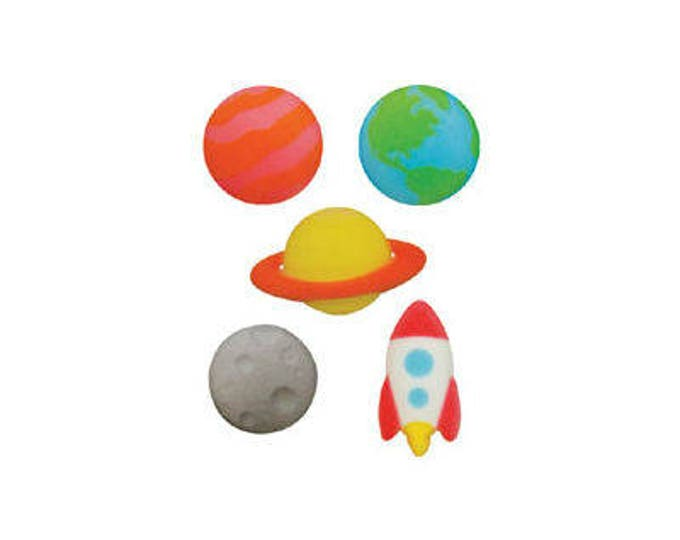 16 Outer Space Molded Sugar Cake Cupcake Topper Decorations Planets Galaxy Solar System