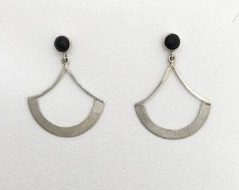 Onyx and Silver Fan Earrings