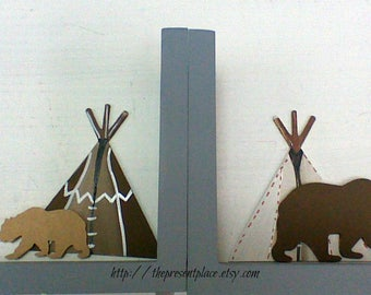 tribal nursery,teepee,woodland nursery,deer bookends,teepee bookends,personalized bookends,woodland book ends,tribal bookends,kids book ends