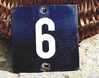 Vintage German Metal Door number / Blue metal door number /House Number 6 or Number 9 / Door Sign / Blue Metal / Vintage Metal Sign