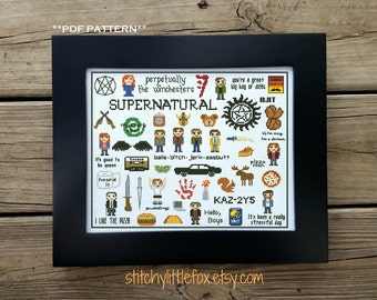 Modern Cross Stitch Pattern PDF, Supernatural Cross Stitch Pattern, Sampler Cross Stitch, Funny Pattern, Sam, Dean, Castiel, Winchesters
