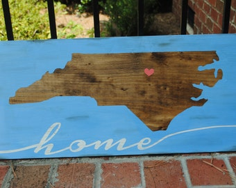 Home North Carolina Wood State Sign. Tar Heel State. Handpainted Custom State Sign. Rustic Wood Sign. NC State gift.