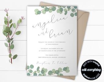 Wedding invitation template etsy eucalyptus greenery wedding invitation template stopboris Choice Image