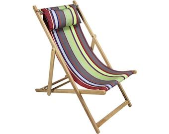 Sunbrella wooden striped French deck chair