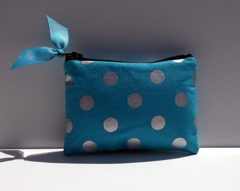 Coin Purse or Business card holder in Turquoise and silver polka dots,Turquoise Chevron