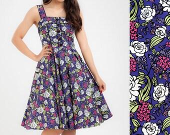 Purple Dress Lilac Floral Dress Vintage Rose Dress Summer Dress Pinup Dress 50s Dress Tea Party Dress Plus Size Dress Swing Dress Retro