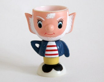 Vintage plastic egg cup in the design of Big Ears character from Enid Blyton's Noddy stories, approx 1960s