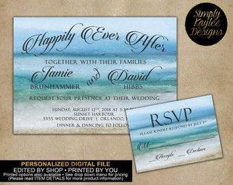 Beach Wedding Invitation with Matching RSVP Card