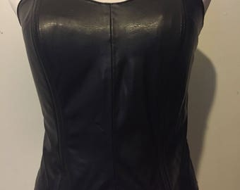 Faux Black Leather Bustier Crop Top XS