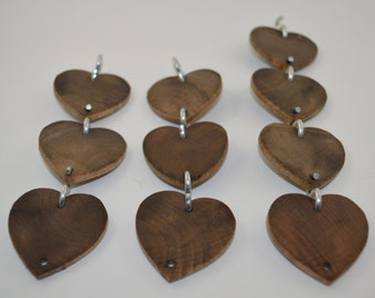 10 Special Walnut Stained Wooden Hearts & S Hooks