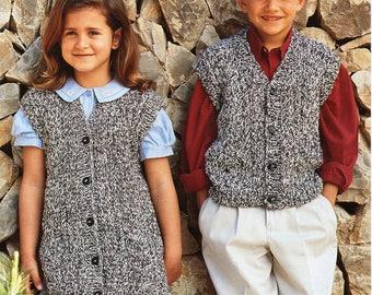 "childrens chunky waistcoats knitting pattern pdf bulky vest childrens gilet long length 22-30"" chunky bulky 12ply pdf instant download"