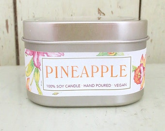 Pineapple Soy Candle 8 oz. - Green Daffodil - Handpoured - Siouxsan and Anne -C8