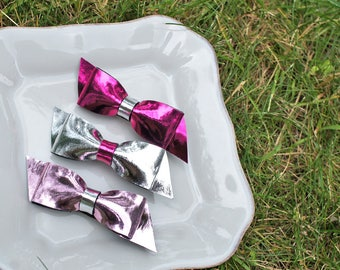 Metallic Simple Hair Bow - Alligator Hair Clip (Set of 3) - for all ages