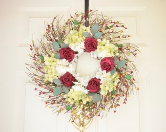 Burgundy Red Rose Wreath READY TO SHIP Spring Summer Door wreath Year round wreath Front door wreath Grapevine Twig Wreath Wedding Wreath