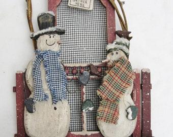Snowman wall decor, winter wall decor, friends gather here