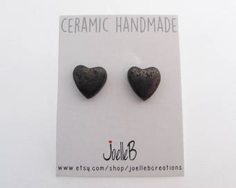 Heart stud earrings, Ceramic earrings, Black heart earrings, Valentines Day gift