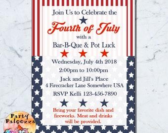 Printable 4th of July  invitation