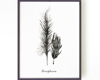 Feather art print Black and white print Feather ink painting Modern black and white art Wall art Home decor SEMIPLUME Buy 2 Get 1 FREE