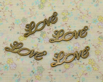 4 x brass connector love Word text writing