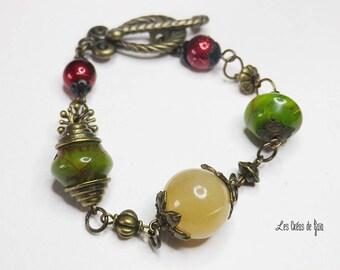 Bronze bracelet Tsopat • Metal and Horn • • ethnic Bracelet beads jewelry