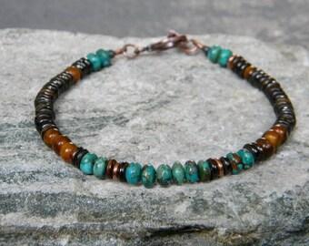 Turquoise Bracelet, Southwestern Bracelet, Tribal Bracelet, Boho Bracelet, Native American Jewelry, Beaded Bracelet, Rustic Bracelet