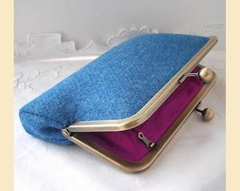 blue Harris Tweed clutch bag, handbag with pink silk lining, azure blue tweed purse, wool clutch with optional personalisation