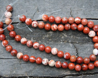 White Lace Red Jasper 6mm Round Beads 8 Inch Strand