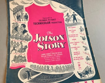APRIL SHOWERS Sheet Music, The Jolson Story sheet music, Columbia Pictures music, movie sheet music, vintage sheet music, vintage ephemera