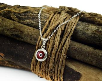 Red Evil Eye Necklace, Sterling Silver Evil Eye Protection Necklace, greek mati, hamsa, kabbalah necklace