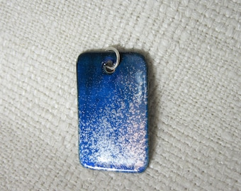 Pendant powder coated cobalt blue silver rectangle 1.2 inches by  0.75 inches. PCP001