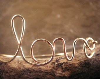 Golden LOVE Wire Bangle Bracelet by donnaodesigns