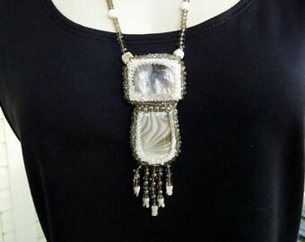 Plume Agate and Polish Flint Taupe Bone Pendant Necklace INBW