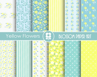 Floral Digital Paper Light Blue & Yellow Papers, Scrapbooking Paper Pack, Shabby Chic Floral Papers - INSTANT DOWNLOAD - 1766