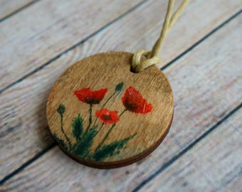 Pendant, wood painting, poppies