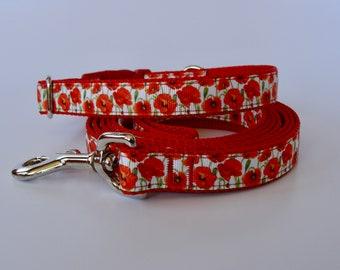 Red Poppy Flower Small Dog Collar or Leash - READY TO SHIP!