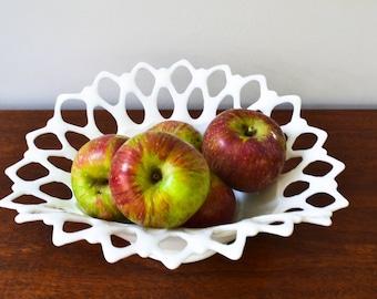 Vintage Doric Lace Milk Glass Bowl Wedding Centerpiece