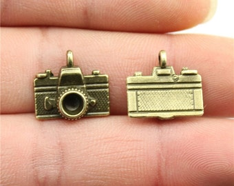 9 Camera Charms, Antique Bronze Plated Charms (1K-49)