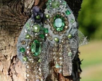 Shabby chic earrings, Marie Antoinette earrings, textile lightweight earrings, bead embroidered earrings, Baroque era earrings, mixed media