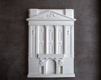 Buckingham Palace plaster model facade of a British architectural masterpiece. Unique wallart. Perfect gift for architecture lover.