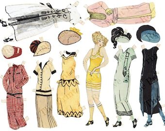 Printable Art Deco Flapper Paper Doll  Hand Drawn & Painted  Instant Download