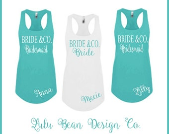 4 Bridesmaid Tank Tops Racerback Personalized Bride and Company Bachelorette Wedding Shirts Tees Maid of Honor