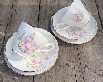 Teacups, Royal Stuart Fine Bone China teacups, vintage teaset, Pink Peonies Vintage tea for 2.