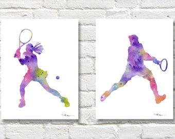 Set of 2 Tennis Player Art Prints - Watercolor Painting - Wall Decor