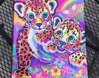 90s Vintage Lisa Frank 3 Ring Binder, 1990s Rainbow Colored School Supplies, Leopard Hunter Chipper Cubs RARE