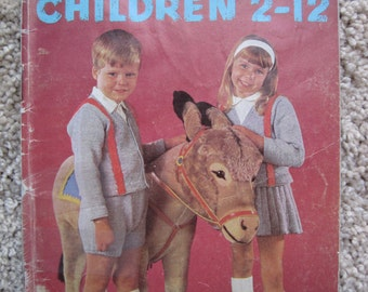 Knit and Crochet Pattern Book - Children Sizes 2 to 12 - Coats & Clark Book No. 167 - Vintage 1965
