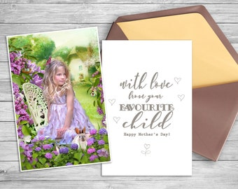 Mother's Day card template Photo overlay Replace background  Photoshop digital backdrop PSD photography Spring overlay card template
