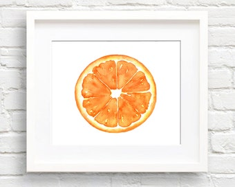 Orange - Art Print - Kitchen Art - Wall Decor - Watercolor Painting